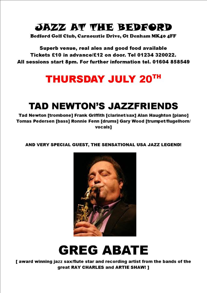 test Twitter Media - Next week is our very special #JazzNight with #TadNewtonsJazzfriends and #GregAbate. For tickets please call 01234 320 022. https://t.co/ZBXffZf3TZ