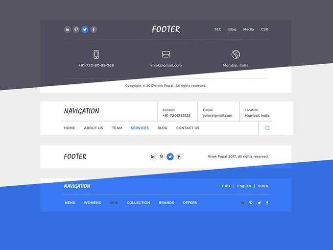 Navigations & Footers   Ui kit by Vivek181994 freebie