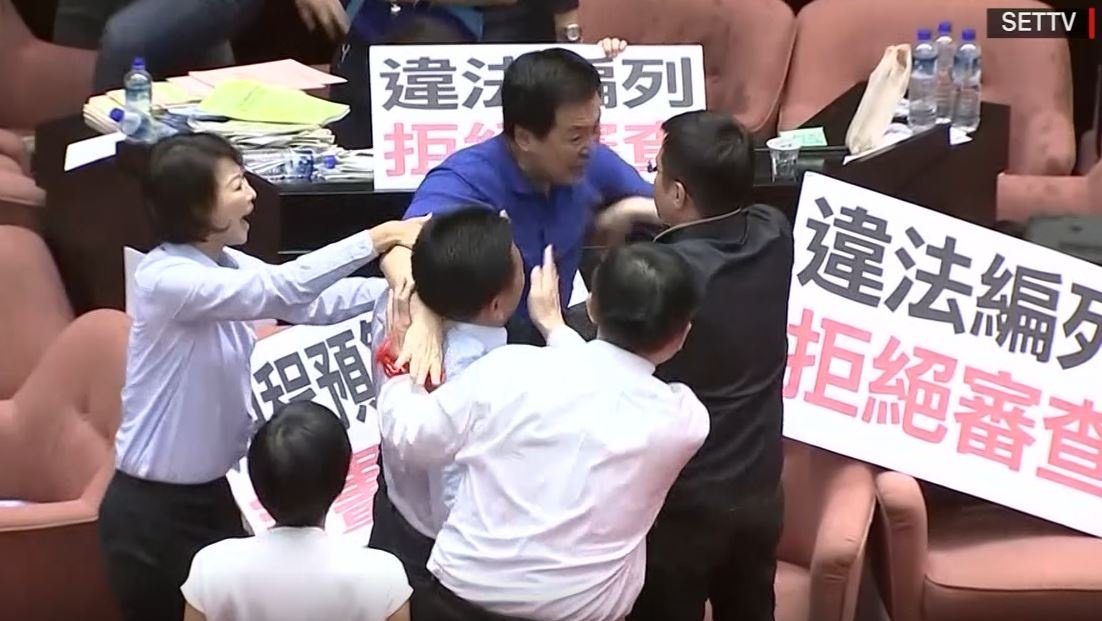 Punches, chairs thrown in Taiwanese parliament brawl