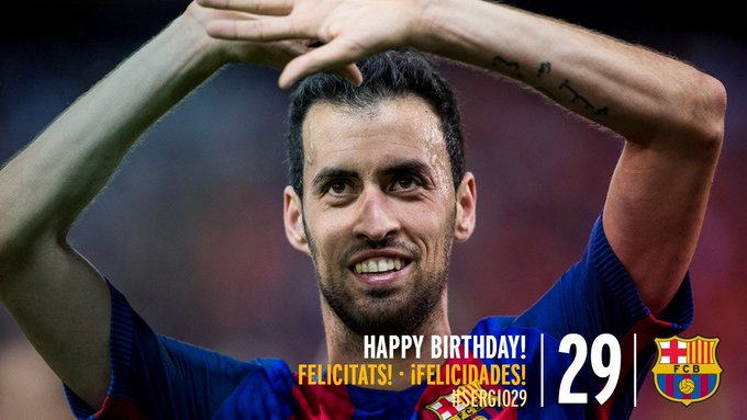 FCBarcelona: Have you sent happy birthday wishes to Sergio Busquets? Use along with your message