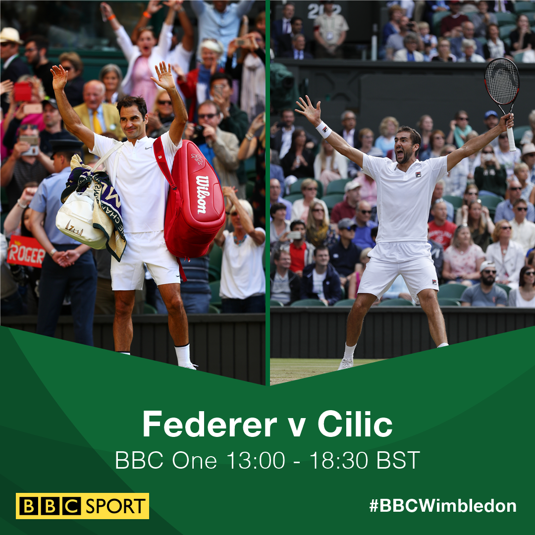 �� Roger Federer v Marin Cilic �� #Wimbledon men's final  �� @BBCOne ⏰ 13:00 BST   https://t.co/TlD0qJ3BTE #bbctennis https://t.co/TlvlvVR21n