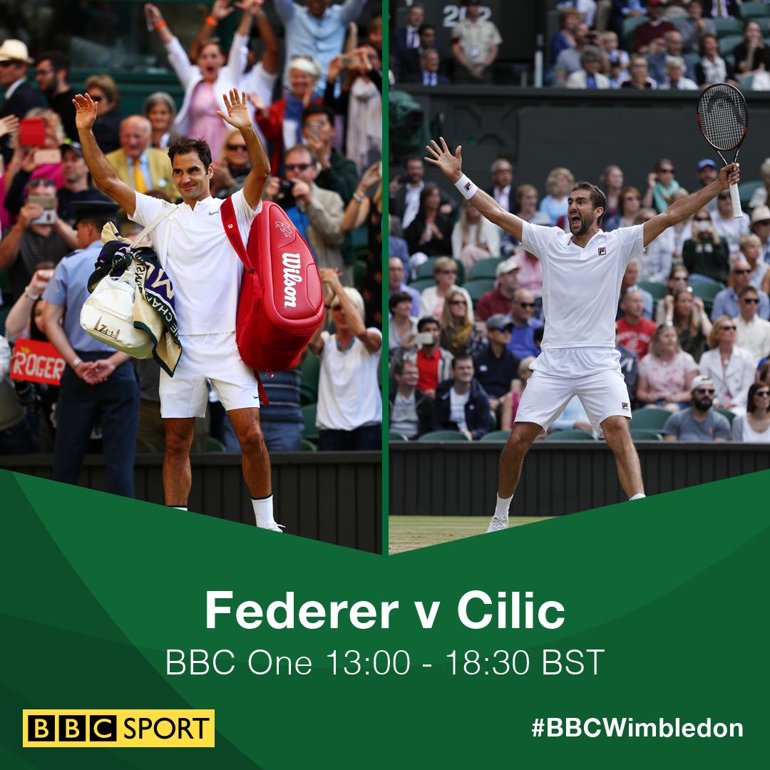 �� Roger Federer v Marin Cilic �� #Wimbledon men's final  �� @BBCOne ⏰ 13:00 BST   https://t.co/TlD0qJlcLc #bbctennis https://t.co/XRs00EE8qT