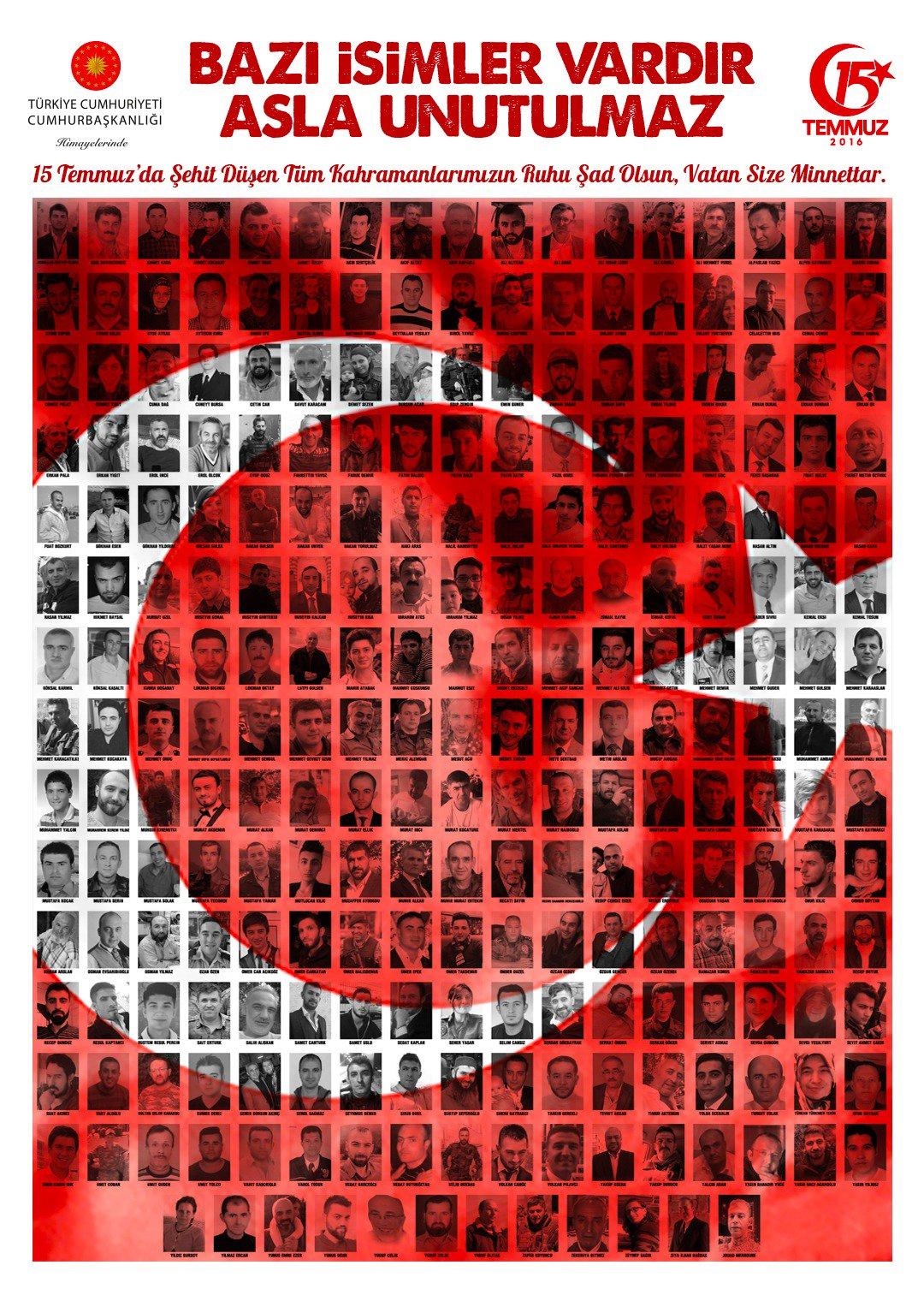 Bazı isimler vardır, asla unutulmaz.  15 TEMMUZ ŞEHİTLERİMİZİN RUHU ŞADOLSUN. https://t.co/QUfUTe5jlf