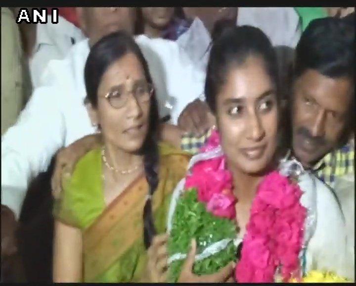 Hyderabad Indian women's cricket team captain Mithali Raj arrives at Rajiv Gandhi International Airport.