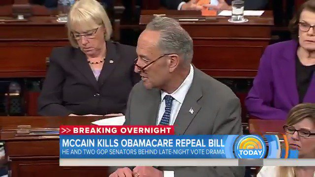 WATCH Chuck Schumer gets emotional while talking about John McCain following 'skinny' repeal vote
