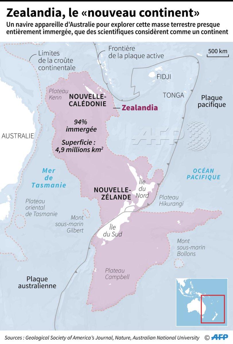 """Carte localisant """"Zealandia"""", une gigantesque masse terrestre essentiellement immergée #AFP par @AFPgraphics"""