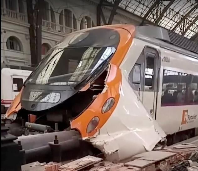 Commuter train crash in Barcelona station injures at least 54