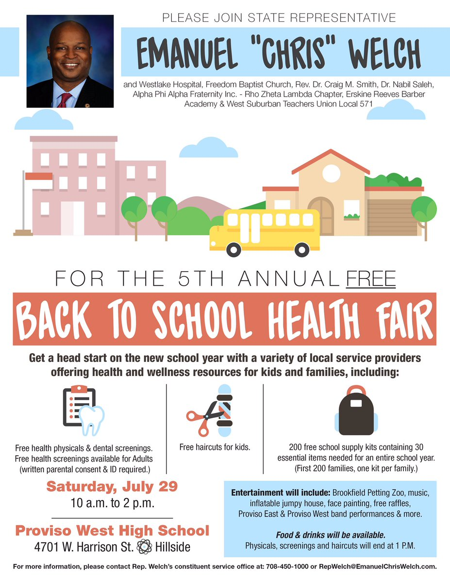 test Twitter Media - Join us 2morrow for our Back to School Event at Proviso West from 10am-2pm. Free school supplies, physicals, screenings, hair cuts & more! https://t.co/JL7YSqPGoM