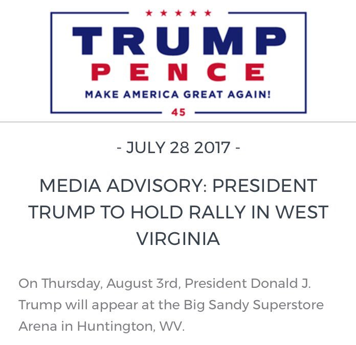 Healthcare is no fun. Rallies are fun! Trump campaign announces rally for next Thursday in West Virginia. https://t.co/lmwVQXkv8z