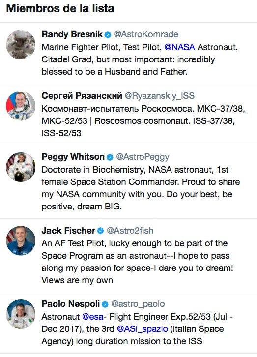 Y de seis personas que están en el espacio ahora mismo cinco tienen cuenta en Twitter
