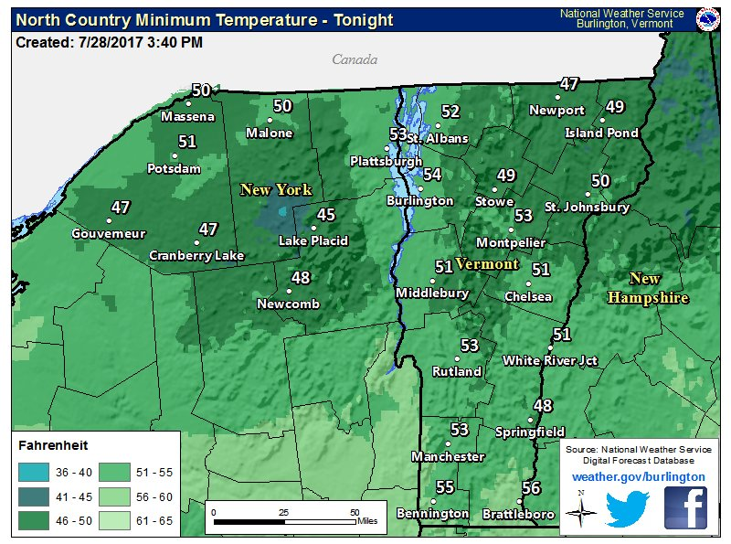 test Twitter Media - Quiet weather tonight w/lows mainly from the mid 40s to lower 50s. Patchy fog expected in in the mountains and eastern VT after midnight. https://t.co/eifxItOyEV