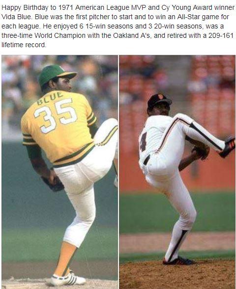 "JihadwatchRS \""70sBaseball: Happy Birthday to 1971 AL MVP & CYA winner Vida Blue! Athletics SFGiants"