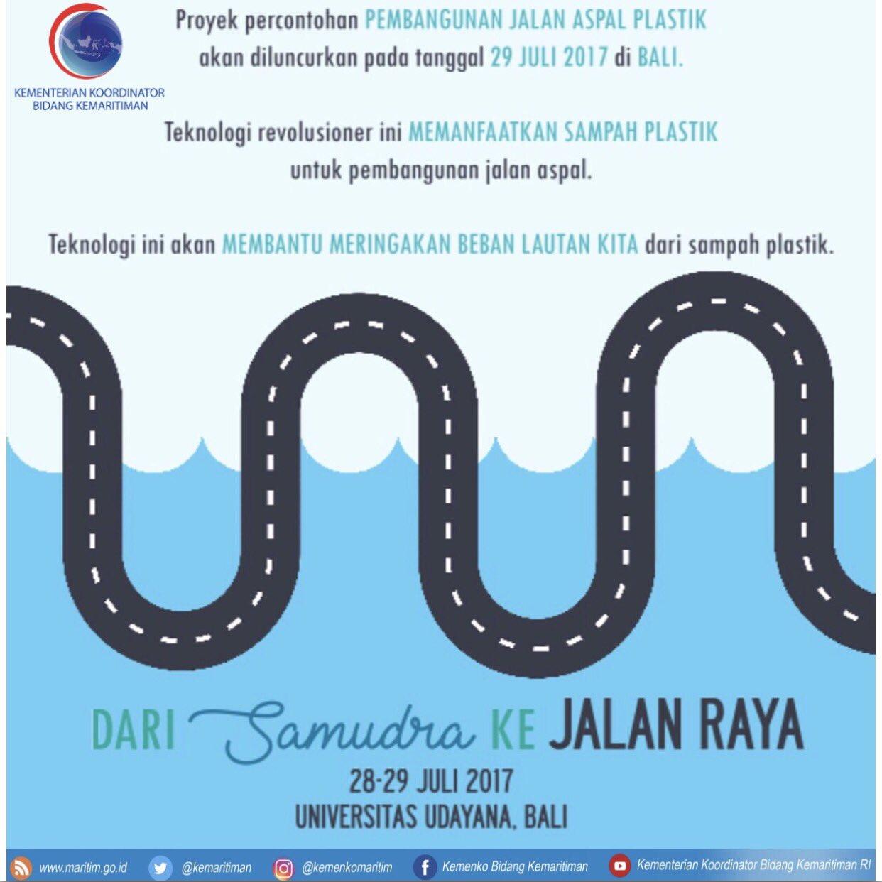 Plastic Tar Road sbg implementasi Terobosan Teknologi yg memanfaatkan sampah plastik untuk pembangunan jalan aspal, Bali (29/7). https://t.co/pXlz9O3qkU