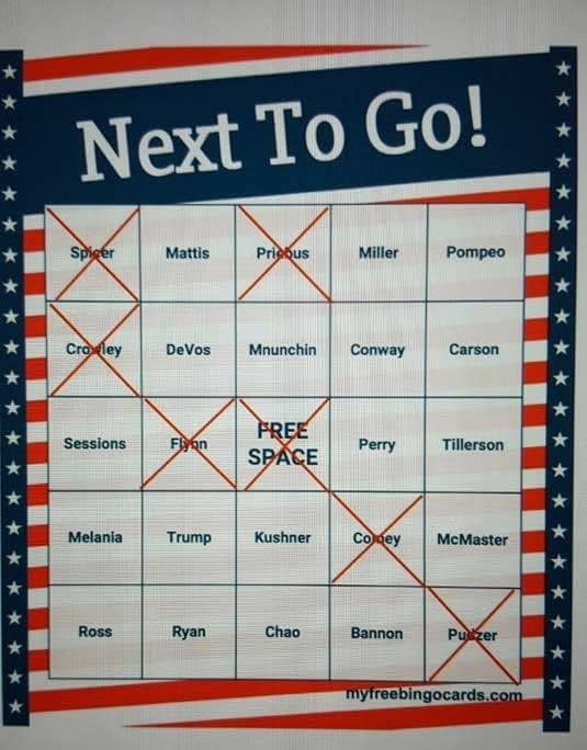 RT @max_dmitriev07: Bingo time! Who are you betting will go next? ))  #DonaldTrump #NewTrumpAdminScandals https://t.co/CCIlgCoNPD