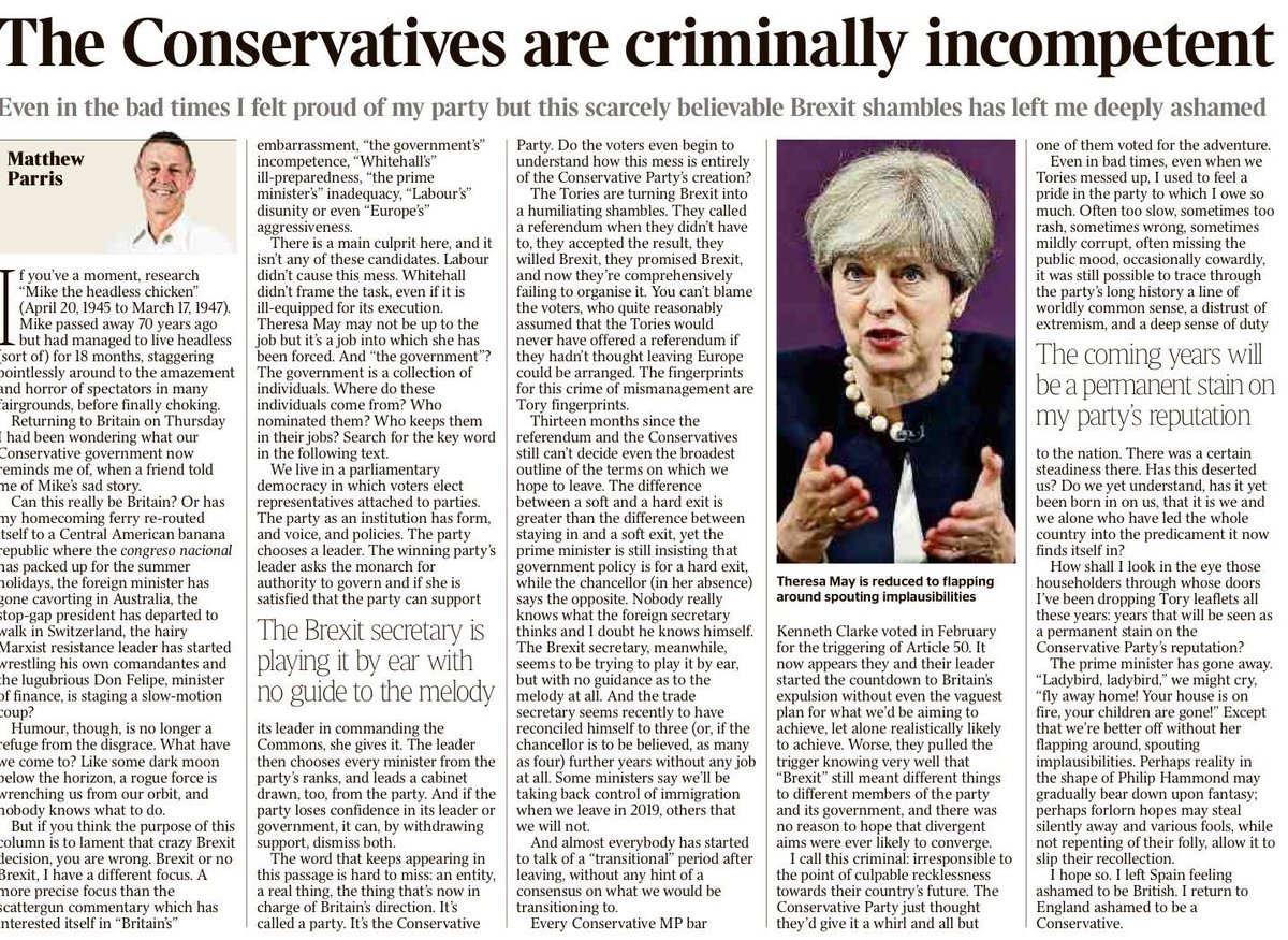 RT @tomedwardsbbchw: A devastating critique from Matthew Parris, possibly his most brutal yet. In today's Times. https://t.co/v402btDLnG