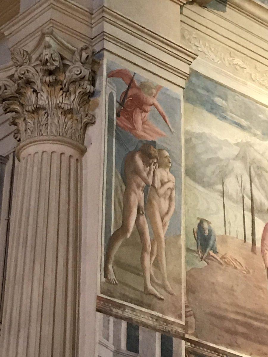 まさかの内部撮影OKだったのでマザッチオの「楽園追放」ルネサンスの始まる直前くらいの作品だから、かれこれ500年は経つの
