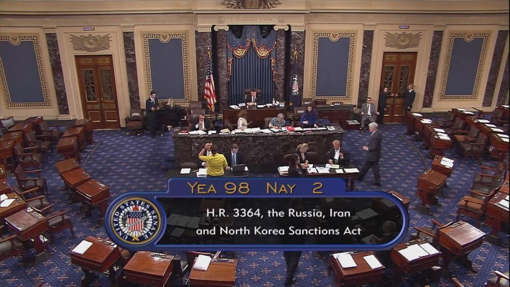 US senate votes to slap further sanctions on Russia, Iran and North Korea