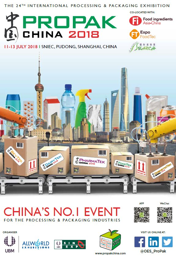 test Twitter Media - ProPak China returns next year 11-13 July 2018 at SNIEC, Shanghai  #processing #packaging #trade #business https://t.co/iLLJY7HBC4