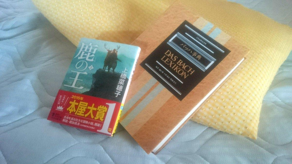 夜の供。バッハ事典は執筆用で、毎夜ちびちび読んでます。上橋菜穂子の最新作「鹿の王」、文庫化されるのをずっと待ってました✨