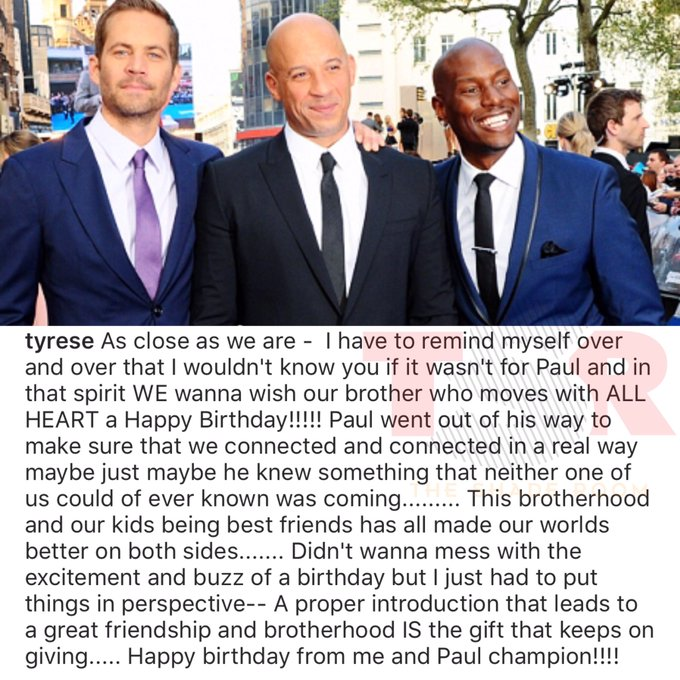 Tyrese wishes Vin Diesel a happy birthday and remembers Paul Walker