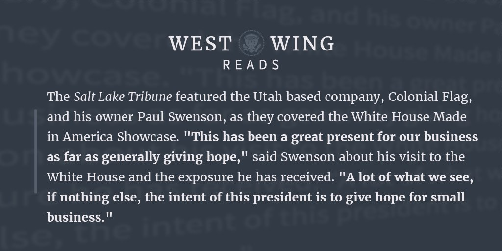 West Wing Reads: #MadeInAmerica Special Edition ✅ https://t.co/6Q5fSMlQes https://t.co/r8dMZ62of8
