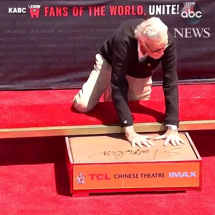 Stan Lee honored with an imprint ceremony at Hollywood's famous TCL Chinese Theatre.