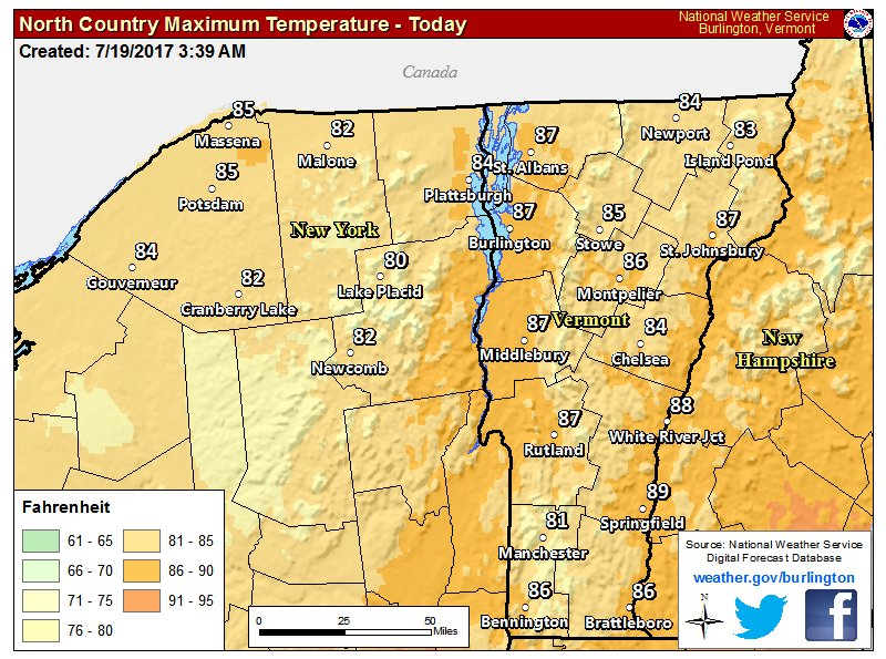 test Twitter Media - Today's forecast: Partly to mostly sunny skies, highs in the 80s, and some late day showers/storms near Canadian border. #vtwx #nywx https://t.co/wr3INeMOfx