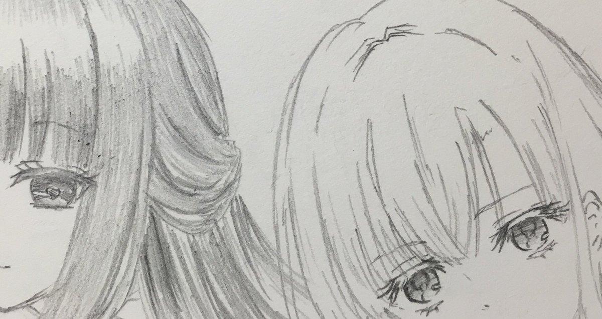 黒髪じゃないけどロングといったら真昼さまも美しいなぁ…と思いまして。真昼さまは鉛筆で描くの2回目☺️書き途中だからだけど