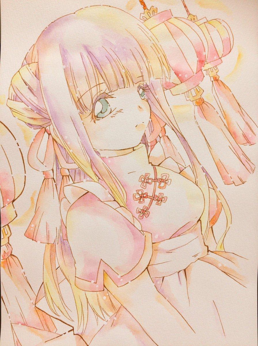 #双星の陰陽師中華風メイドの紅緒ちゃんオレンジは、ちょこちょこ入れると大体まとまる便利な色。ありがたい。髪の紫と黄色が喧