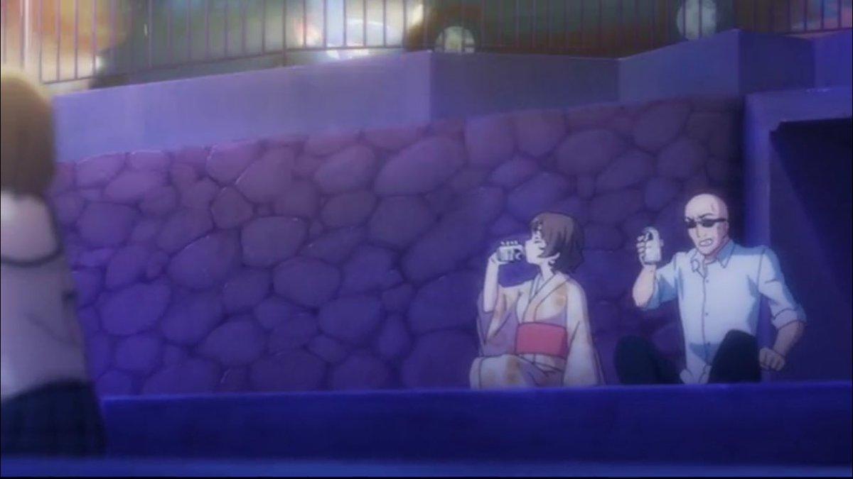 #毎日ハナヤマタ今日は12組目最後のシーンからおまけ的にサリーちゃんと海坊主が祝杯をあげるシーンデス。(なお話中のお祭施