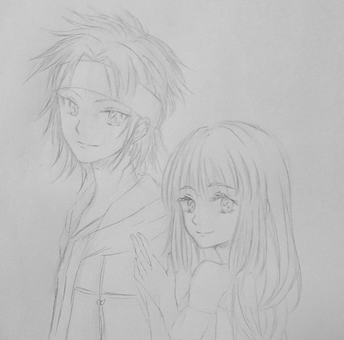うちの颯天とスーちゃん( )の子のヴァナディースちゃん。色味似てるコンビちゃん。最近 颯天がうまく描けないんだ( ´꒳