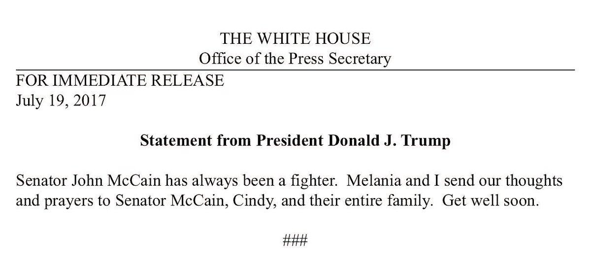 RT @PressSec: Statement from @POTUS on @SenJohnMcCain https://t.co/OtdIDZTalz