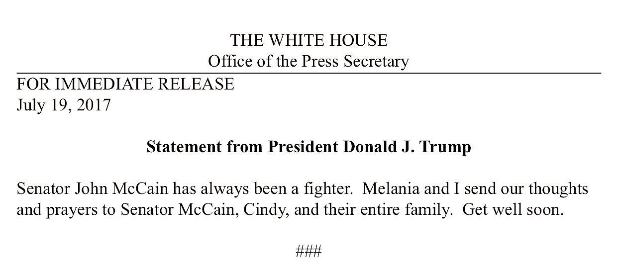 Statement from @POTUS on @SenJohnMcCain https://t.co/OtdIDZTalz