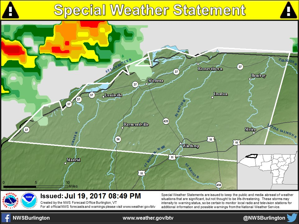 test Twitter Media - Thunderstorms approaching the Saint Lawrence Valley will be capable of producing pea size hail, wind gust to 30 mph, and frequent lightning. https://t.co/i43raeePf3