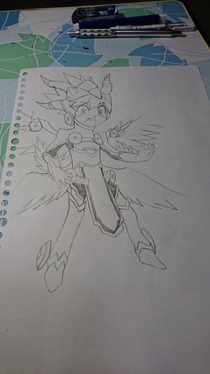 今回は、「パズドラクロス」の、エース(ブレイブXドラゴンソウルアーマー)を描いてみました。(^_^)まだ×2!練習だねぇ