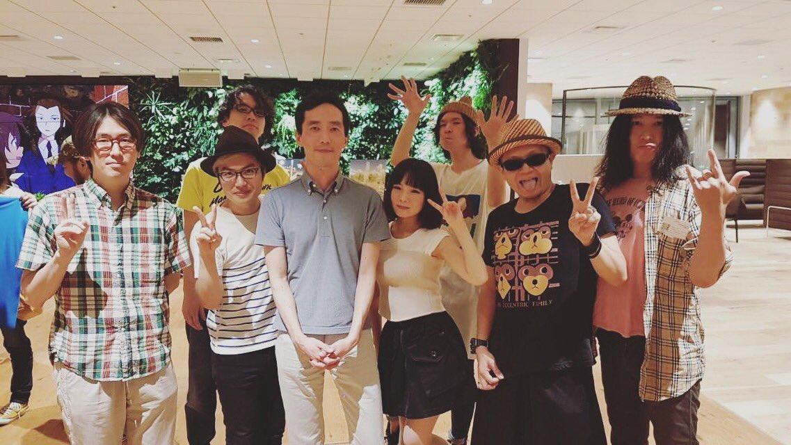 「有頂天家族2」打ち上げでした。森見先生と、音楽チーム勢ぞろい。fhánaのデビュー作「ケセラセラ」から引き続きエンディ