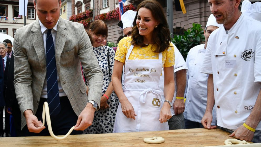 UK royals make pretzels, visit German cancer research center