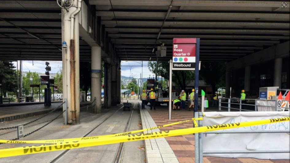 Grout falls from I-5 overpass, shuts down MAX trains