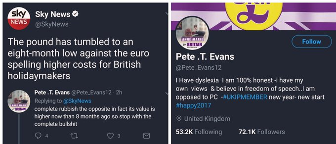 RT @Selfvertroue91: Sky News: £ is 8-month low in relation to € Brexiteer: rubbish, it's the opposite 😁 https://t.co/ZKmP6861aW