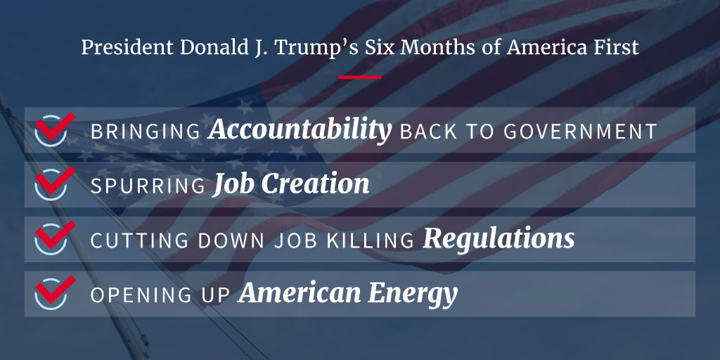 In six months in office, @POTUS has followed through on his promises to the American people https://t.co/COVPAWg4h3 https://t.co/PRytG6a931