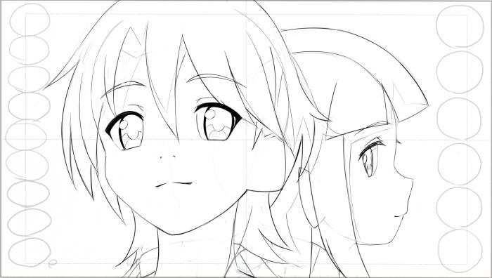 有頂天家族2 ラフ 矢三郎と海星ちゃんです。けっこう難しい絵なのでちゃんとそう見えてるか心配… 公式みたく味のある絵では