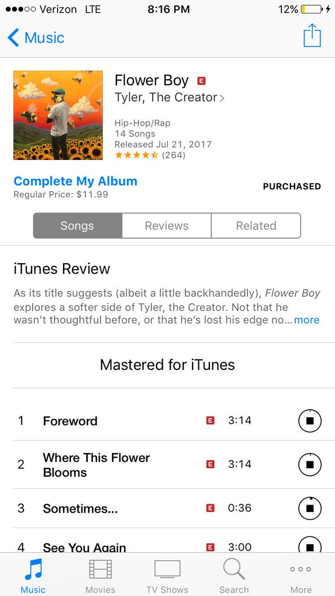 Ahhhhhh Flower Boy Is On Itunes Go Go Go Go Go Go Go