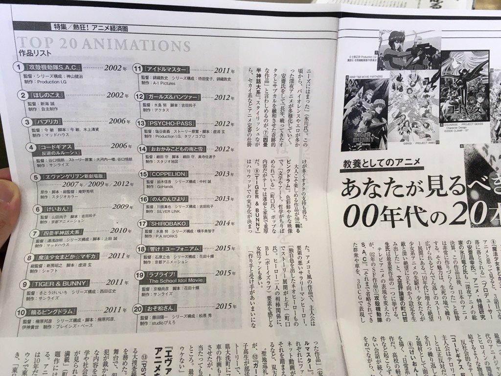 『週刊 東洋経済』特集の、観るべき2000年代アニメ20本。→まあこんなもんかなという気もするけど、個人的には『翠星のガ