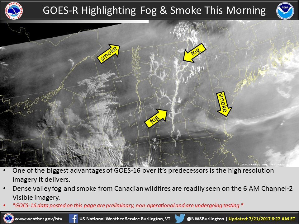 test Twitter Media - Dense valley fog and smoke from Canadian wildfires are readily seen on the 6 AM GOES-16 Channel-2 Visible imagery. #nonoperational https://t.co/m5RhZuszpk