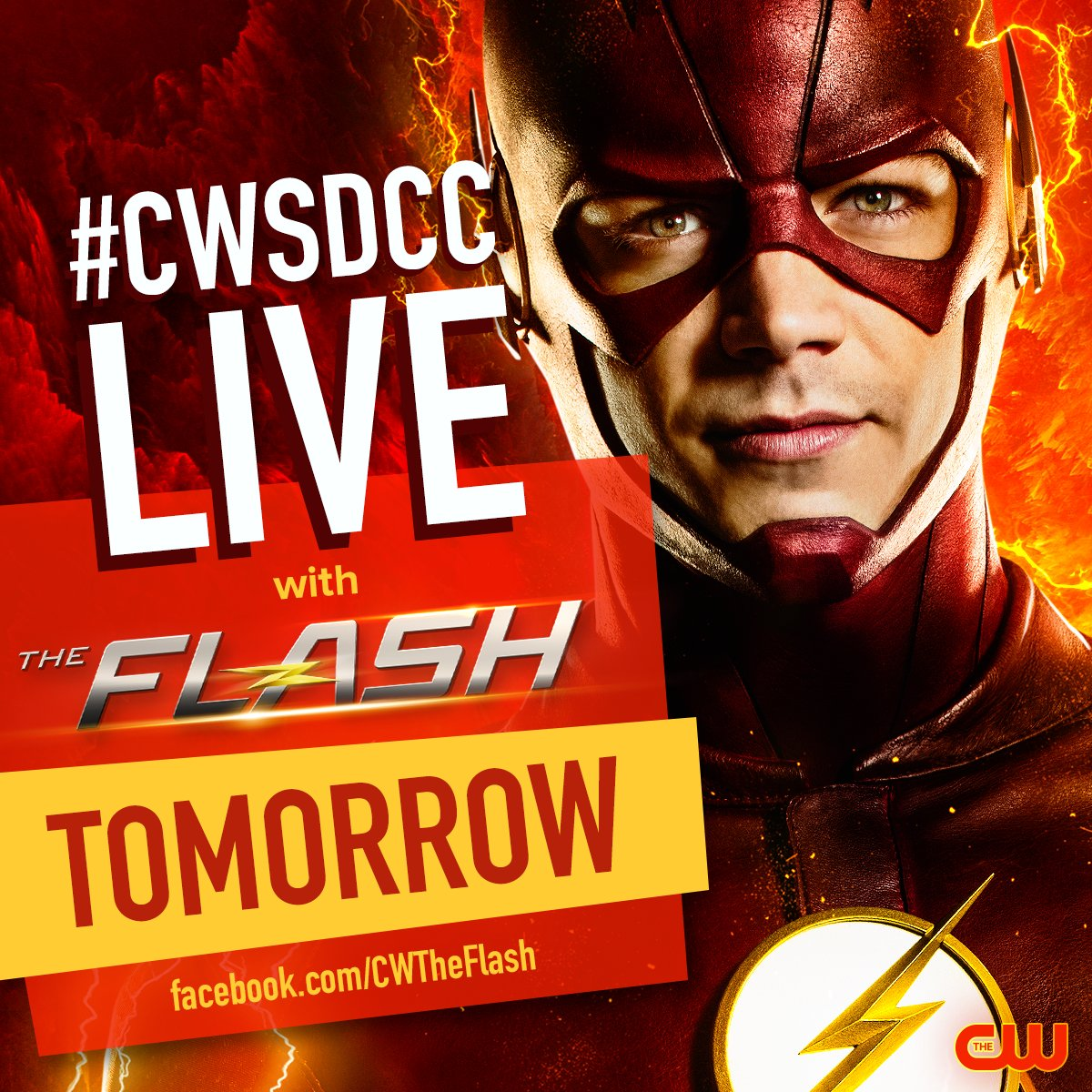 See the cast of #TheFlash LIVE at #CWSDCC tomorrow on our Facebook page
