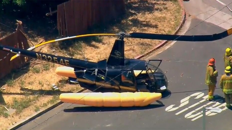 Four injured as helicopter crash-lands in L.A. neighborhood
