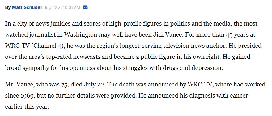 RT @POLITICO_Steve: Perfect lede in the first cut of Vance's WaPo obit. https://t.co/GptGMpLJHd https://t.co/wNZJmWcv1a