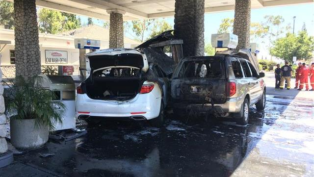Two cars catch fire at Carmel Mountain Chevron gas station