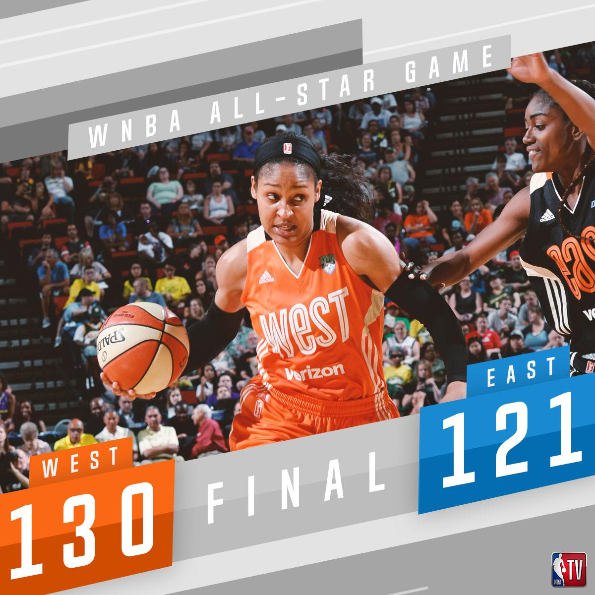 Maya Moore (23p) leads the West to a #WNBAAllStar game win!