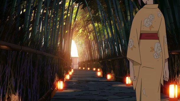 寿老人の電車から温泉へと通じる竹林の小径、とりあえず嵐山の大河内庭園前あたりが雰囲気的に近い。#有頂天